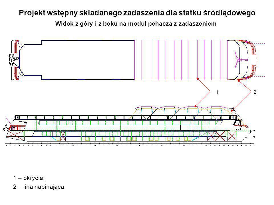 Projekt wstępny składanego zadaszenia dla statku śródlądowego