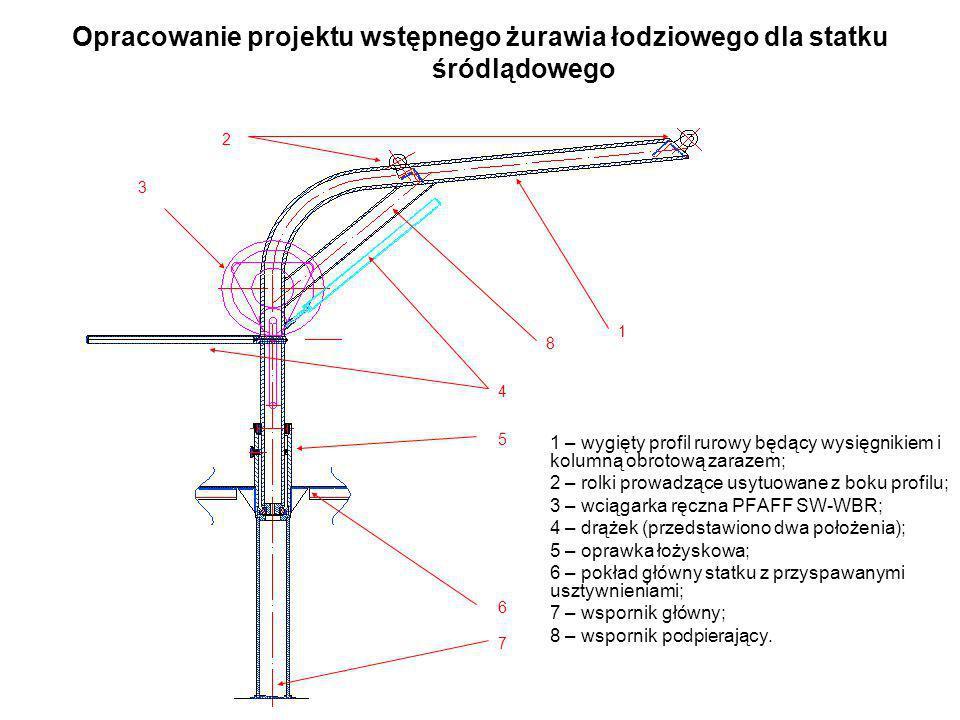 Opracowanie projektu wstępnego żurawia łodziowego dla statku śródlądowego