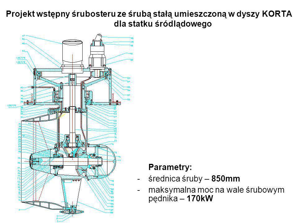 Projekt wstępny śrubosteru ze śrubą stałą umieszczoną w dyszy KORTA dla statku śródlądowego