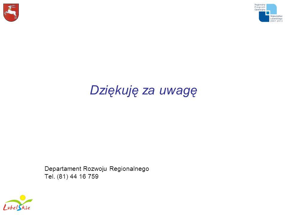 Departament Rozwoju Regionalnego Tel. (81) 44 16 759