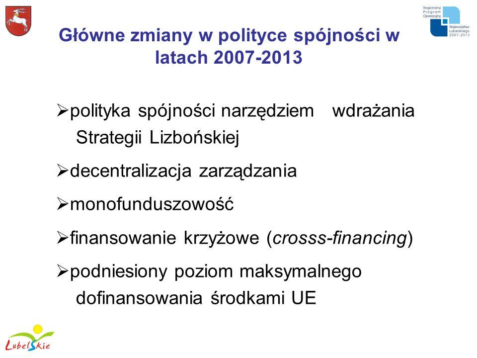 Główne zmiany w polityce spójności w latach 2007-2013
