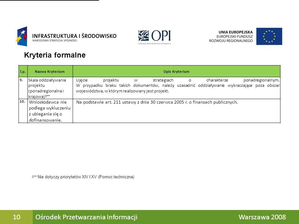 Ośrodek Przetwarzania Informacji Warszawa 2008 10