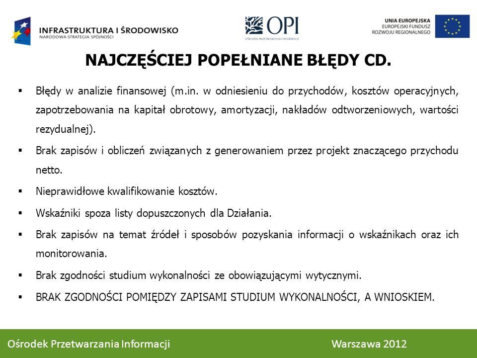 NAJCZĘŚCIEJ POPEŁNIANE BŁĘDY CD.