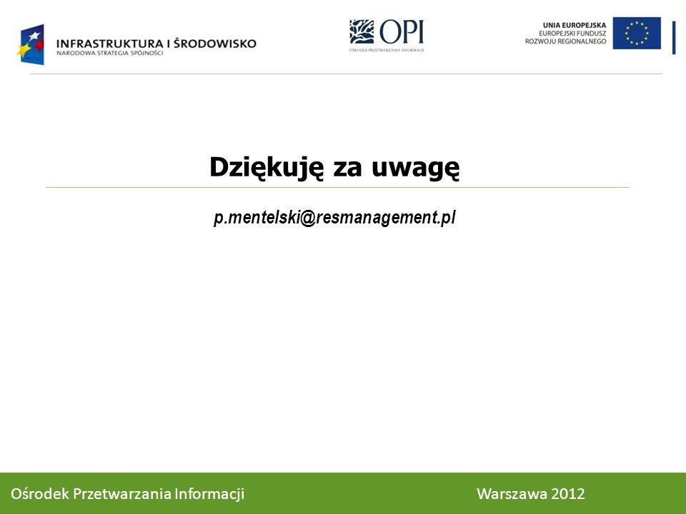 Dziękuję za uwagę p.mentelski@resmanagement.pl