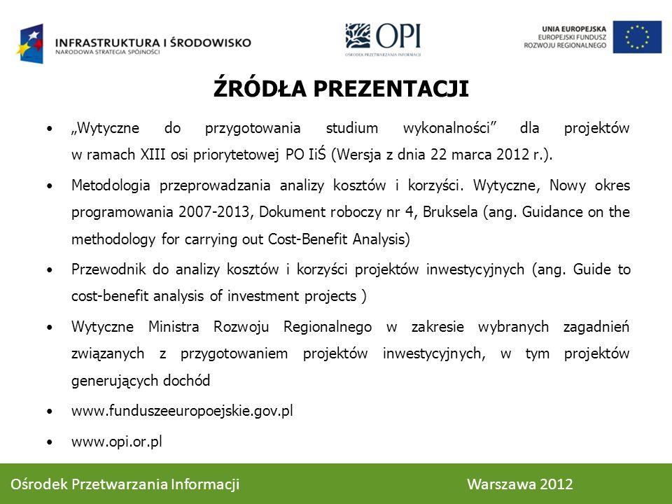 ŹRÓDŁA PREZENTACJI Ośrodek Przetwarzania Informacji Warszawa 2012