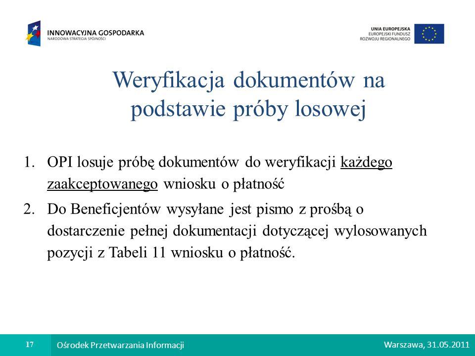 Weryfikacja dokumentów na podstawie próby losowej