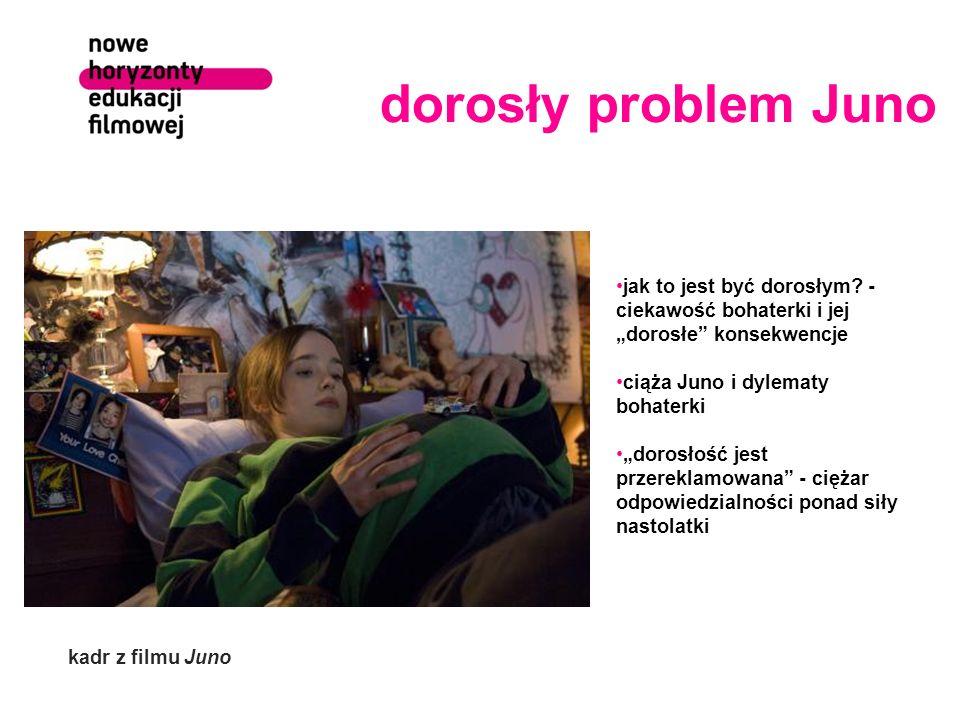 """dorosły problem Juno jak to jest być dorosłym - ciekawość bohaterki i jej """"dorosłe konsekwencje. ciąża Juno i dylematy bohaterki."""