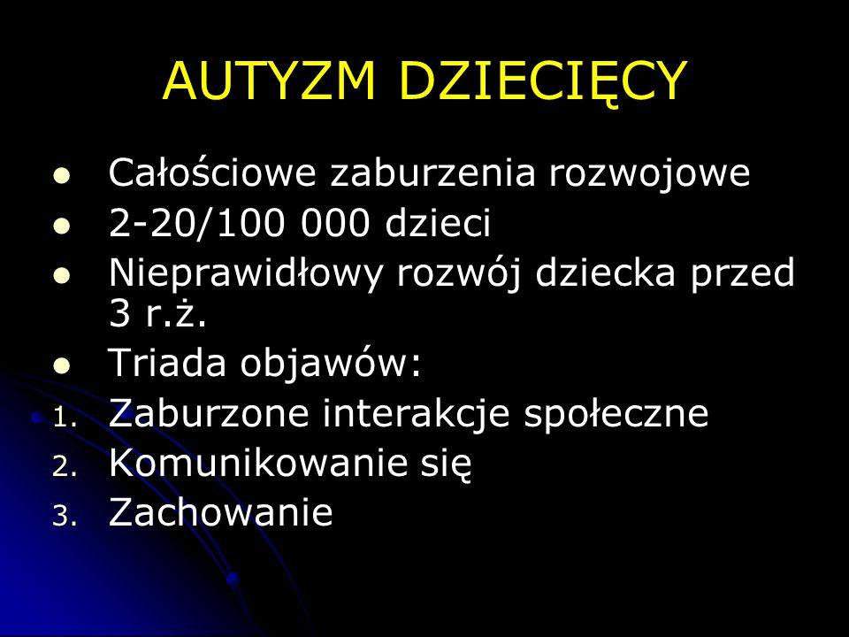 AUTYZM DZIECIĘCY Całościowe zaburzenia rozwojowe 2-20/100 000 dzieci