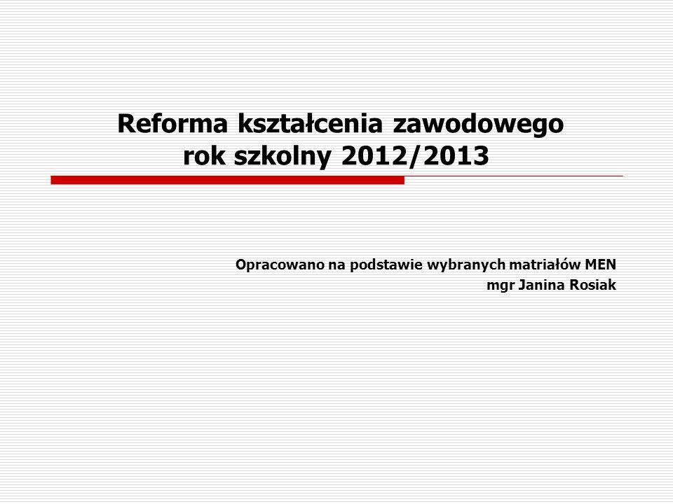 Reforma kształcenia zawodowego rok szkolny 2012/2013