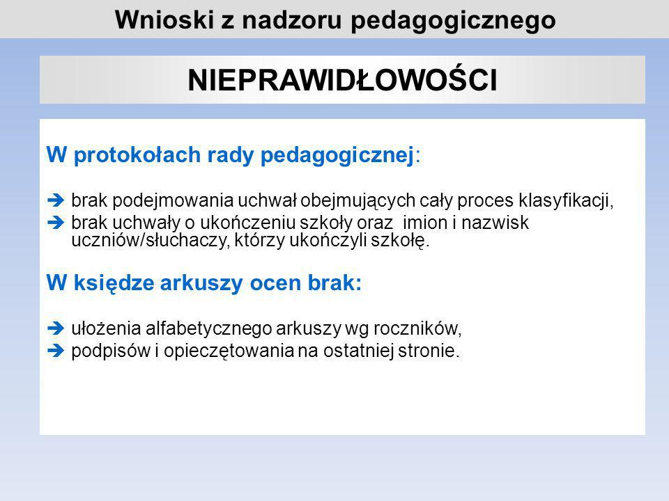 NIEPRAWIDŁOWOŚCI Wnioski z nadzoru pedagogicznego