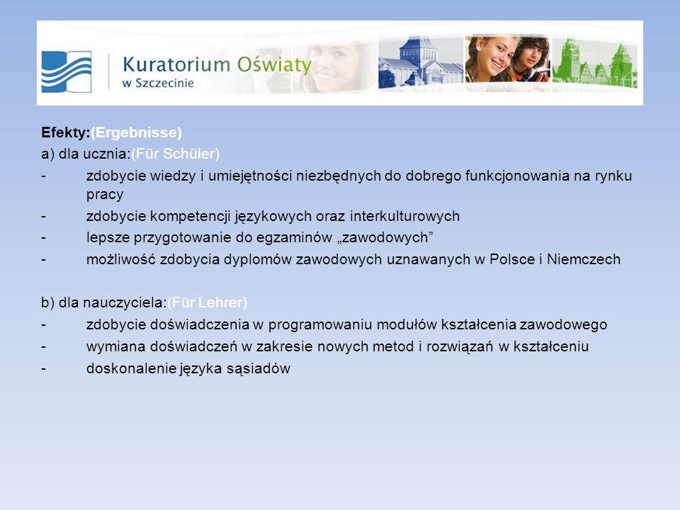 Efekty:(Ergebnisse) a) dla ucznia:(Für Schüler) zdobycie wiedzy i umiejętności niezbędnych do dobrego funkcjonowania na rynku pracy.