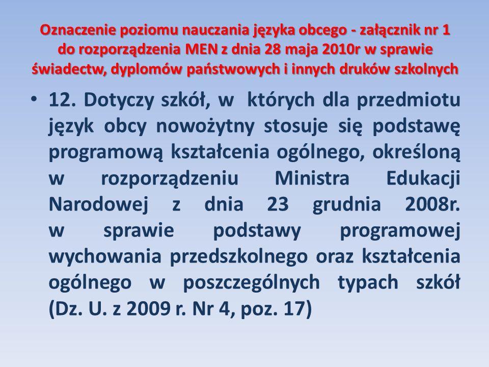 Oznaczenie poziomu nauczania języka obcego - załącznik nr 1 do rozporządzenia MEN z dnia 28 maja 2010r w sprawie świadectw, dyplomów państwowych i innych druków szkolnych