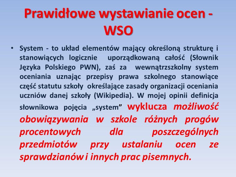Prawidłowe wystawianie ocen - WSO