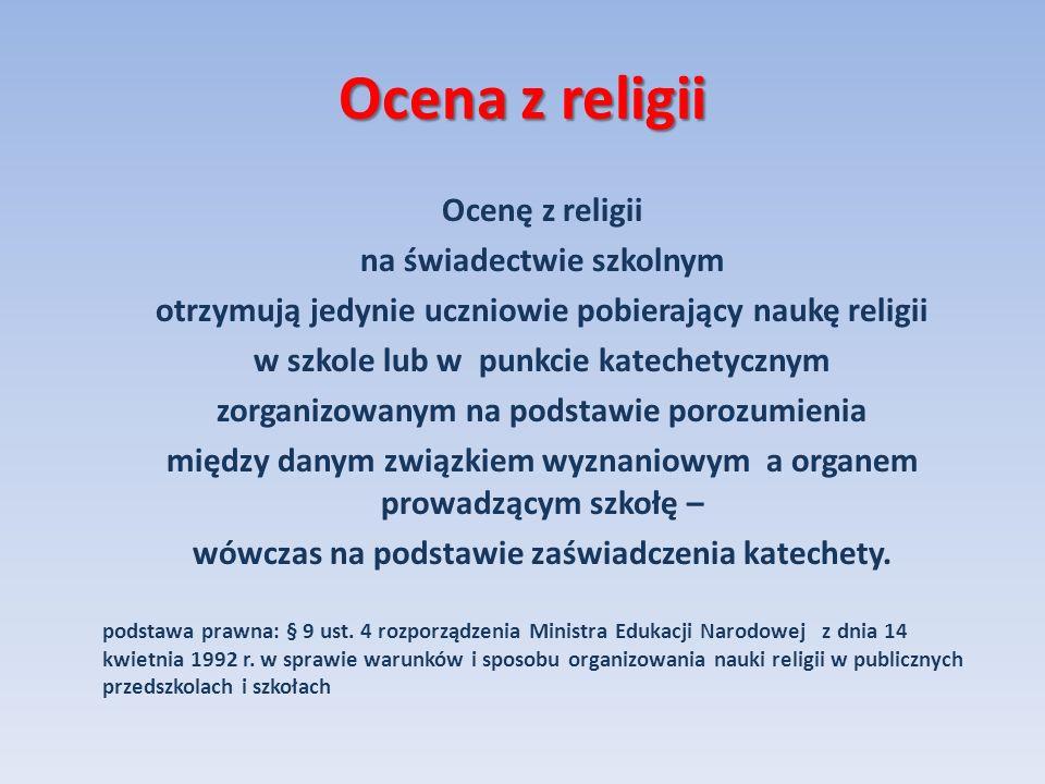 Ocena z religii na świadectwie szkolnym
