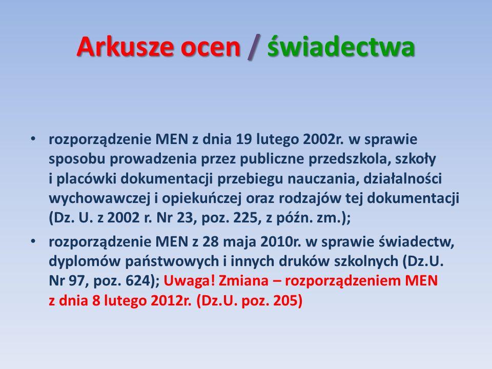 Arkusze ocen / świadectwa