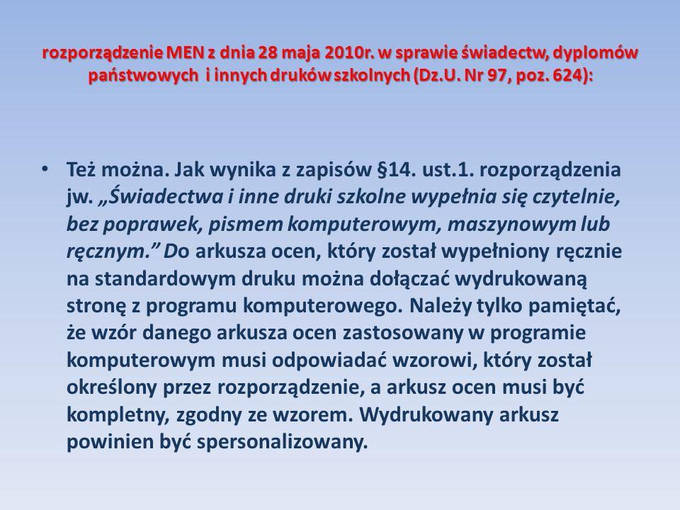rozporządzenie MEN z dnia 28 maja 2010r