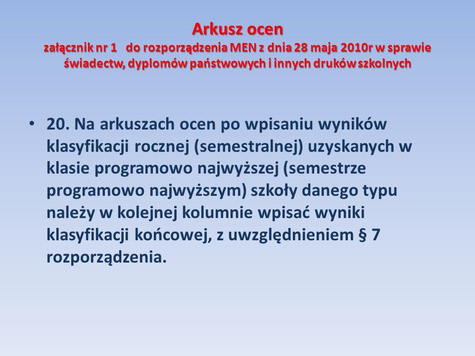 Arkusz ocen załącznik nr 1 do rozporządzenia MEN z dnia 28 maja 2010r w sprawie świadectw, dyplomów państwowych i innych druków szkolnych