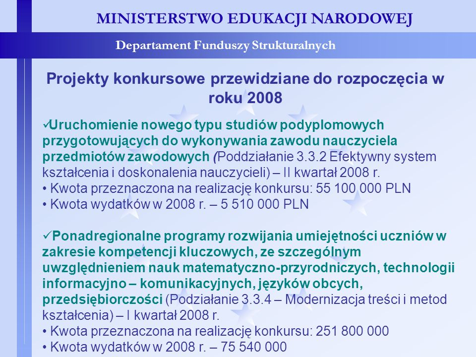 Projekty konkursowe przewidziane do rozpoczęcia w roku 2008