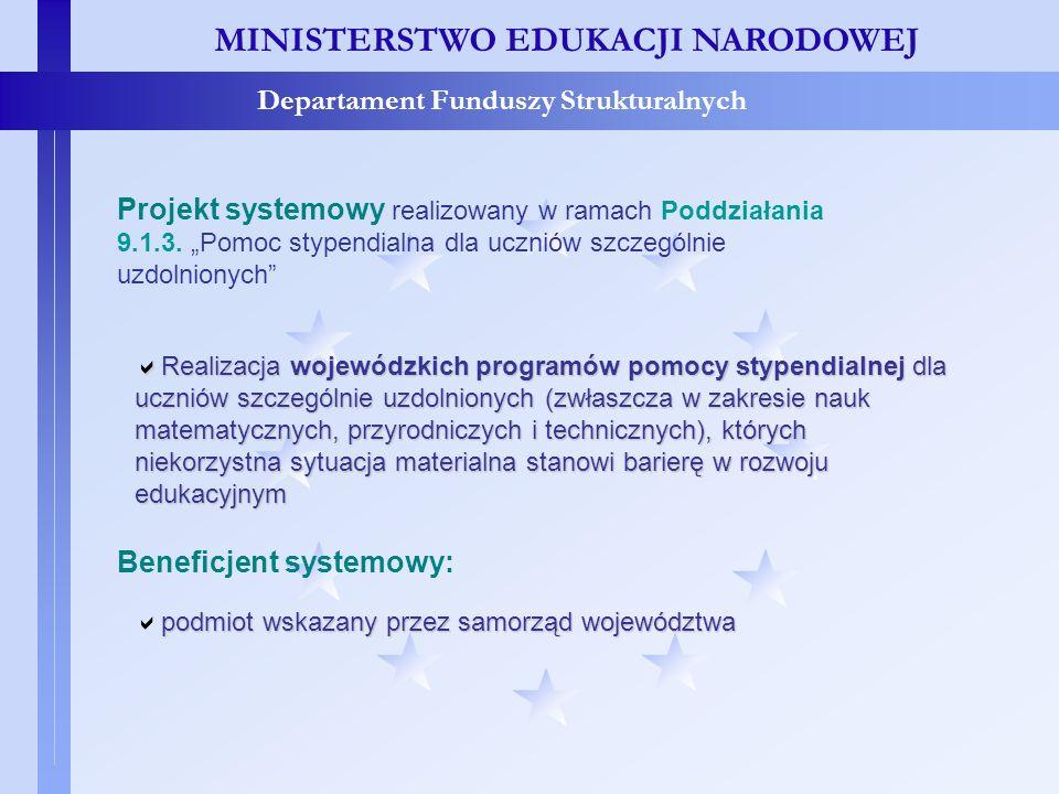 MINISTERSTWO EDUKACJI NARODOWEJ Departament Funduszy Strukturalnych