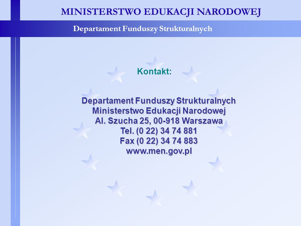 Departament Funduszy Strukturalnych Ministerstwo Edukacji Narodowej