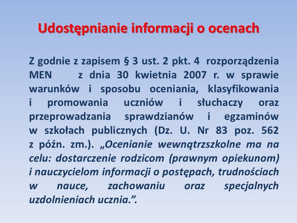 Udostępnianie informacji o ocenach