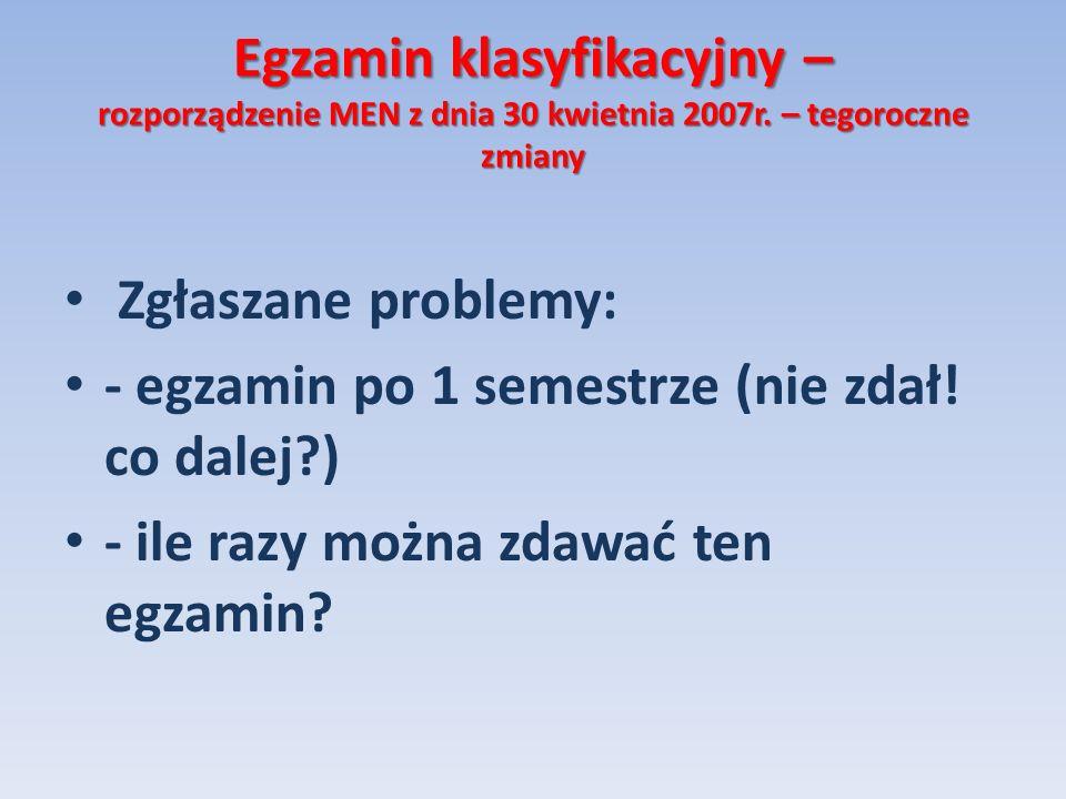 Egzamin klasyfikacyjny – rozporządzenie MEN z dnia 30 kwietnia 2007r