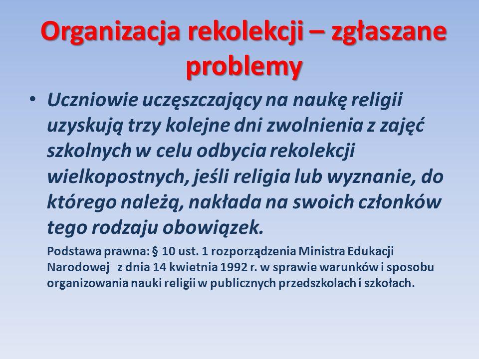 Organizacja rekolekcji – zgłaszane problemy