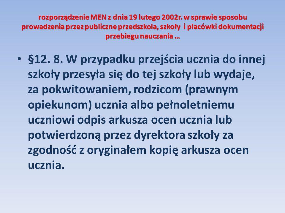 rozporządzenie MEN z dnia 19 lutego 2002r