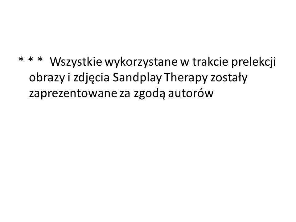 * * * Wszystkie wykorzystane w trakcie prelekcji obrazy i zdjęcia Sandplay Therapy zostały zaprezentowane za zgodą autorów