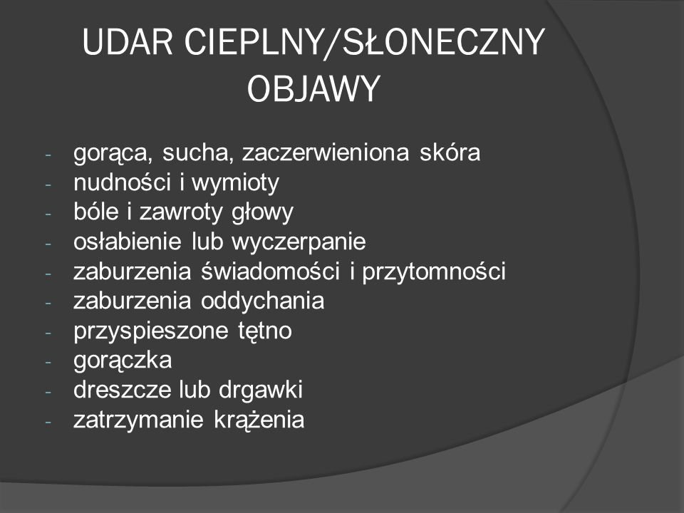 UDAR CIEPLNY/SŁONECZNY OBJAWY