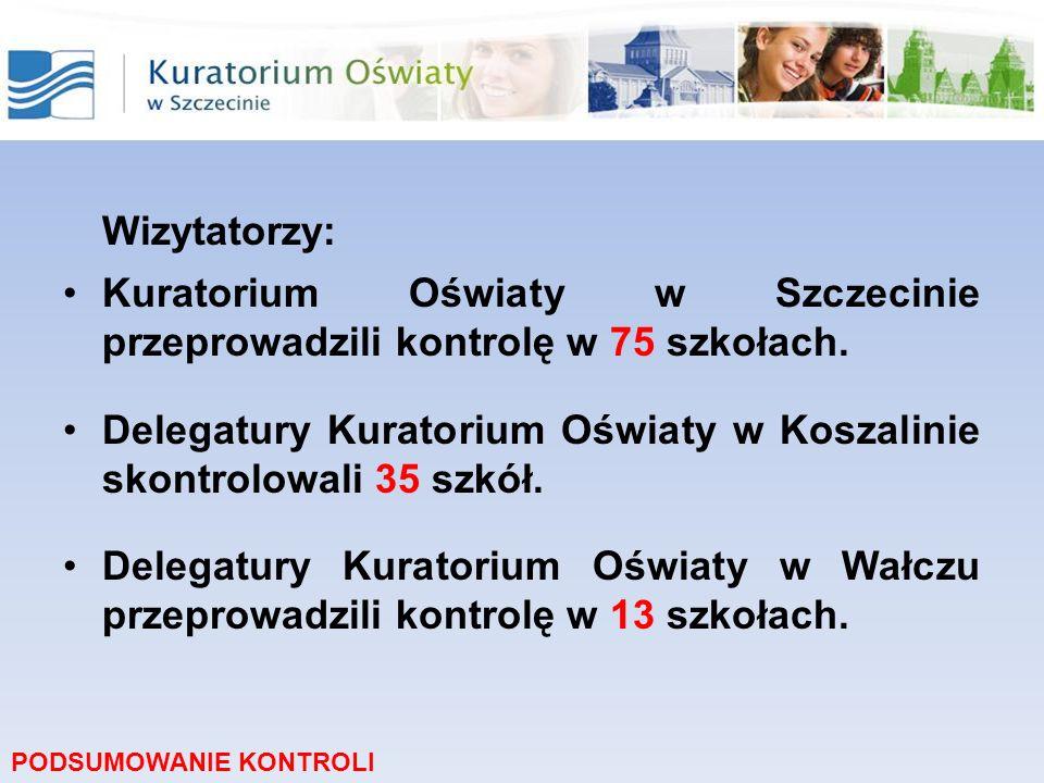 Wizytatorzy:Kuratorium Oświaty w Szczecinie przeprowadzili kontrolę w 75 szkołach.