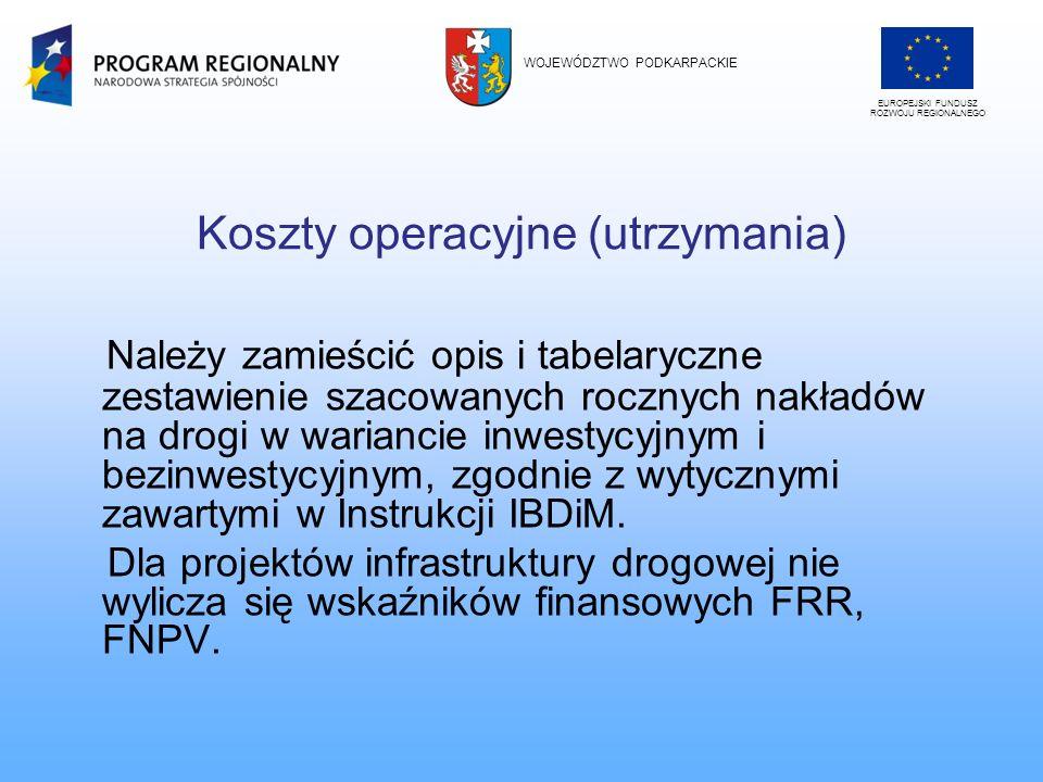Koszty operacyjne (utrzymania)