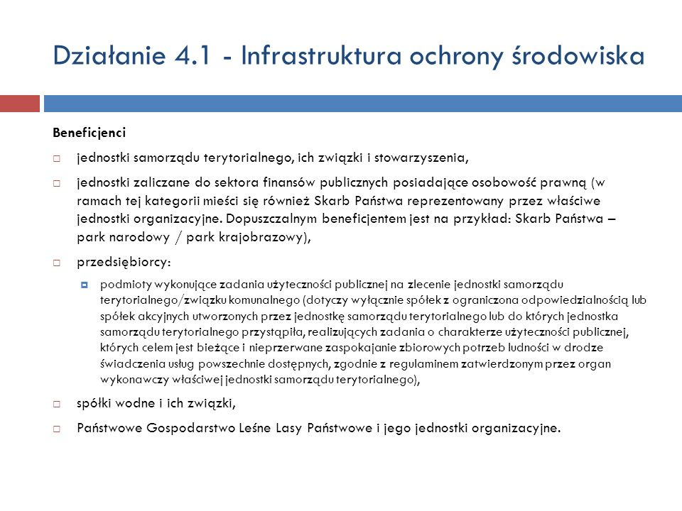 Działanie 4.1 - Infrastruktura ochrony środowiska