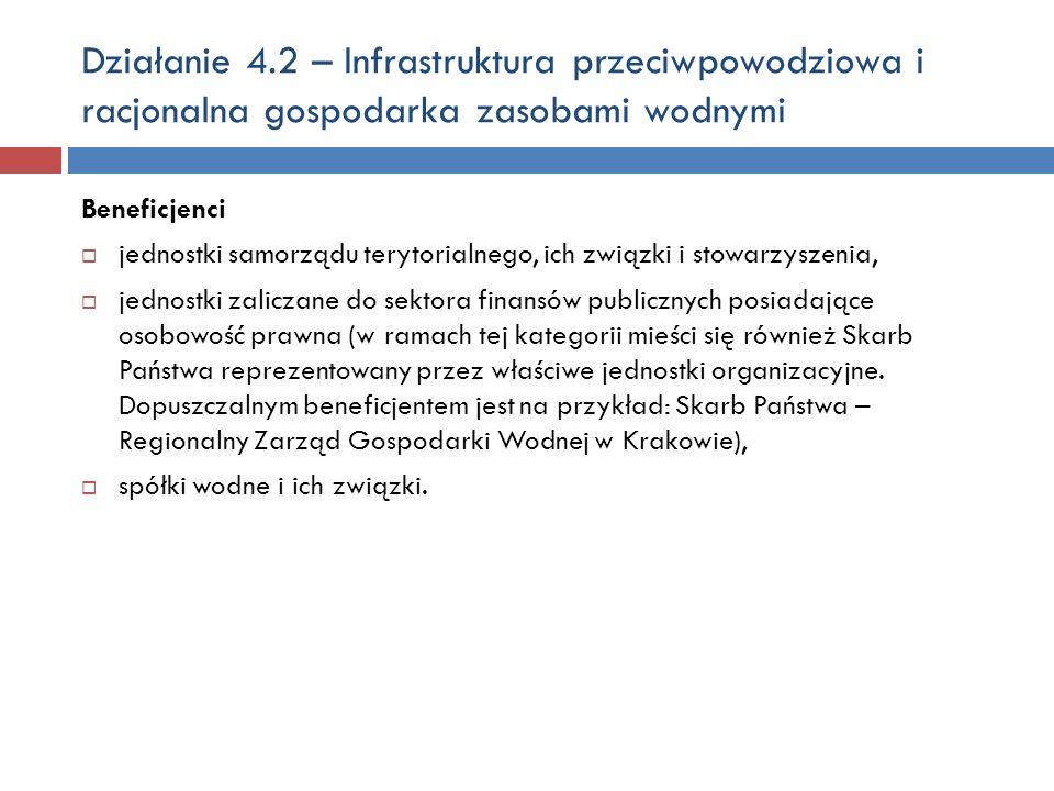 Działanie 4.2 – Infrastruktura przeciwpowodziowa i racjonalna gospodarka zasobami wodnymi