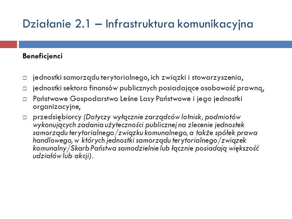 Działanie 2.1 – Infrastruktura komunikacyjna