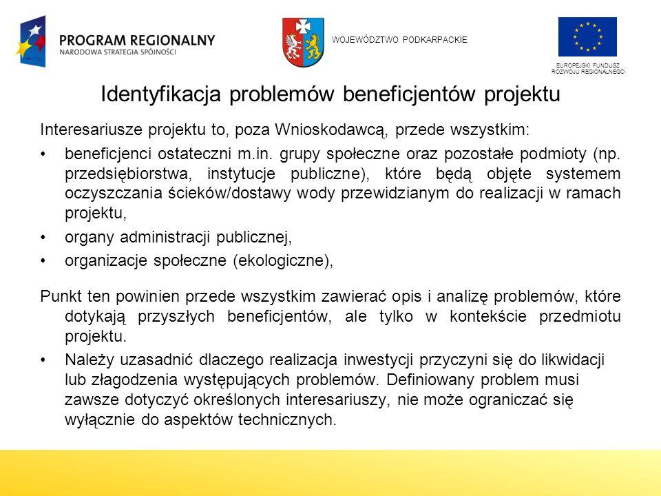 Identyfikacja problemów beneficjentów projektu