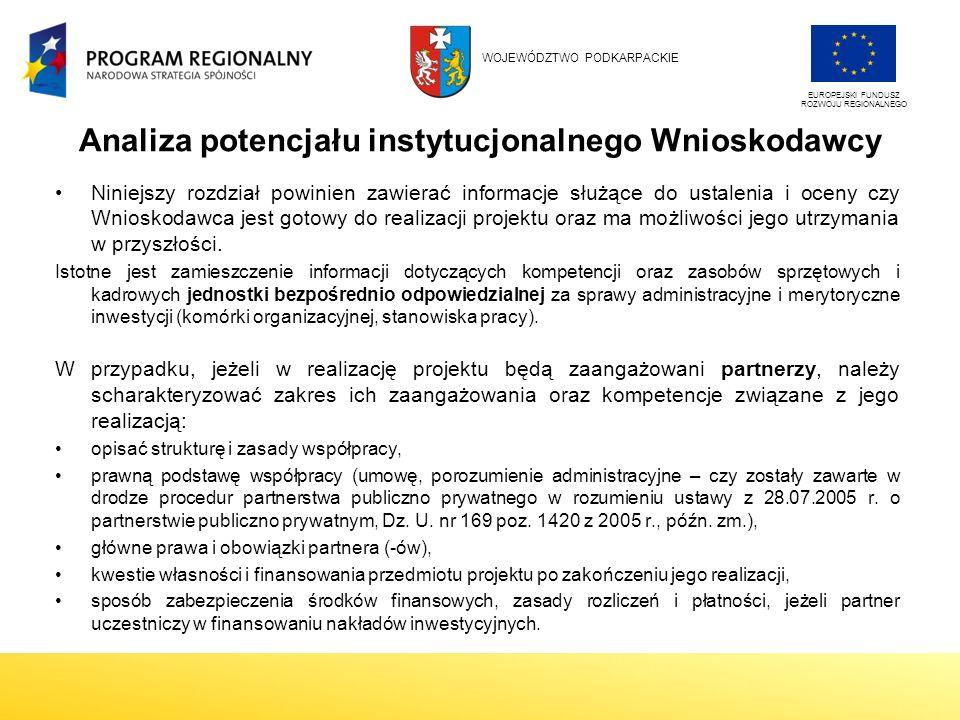Analiza potencjału instytucjonalnego Wnioskodawcy