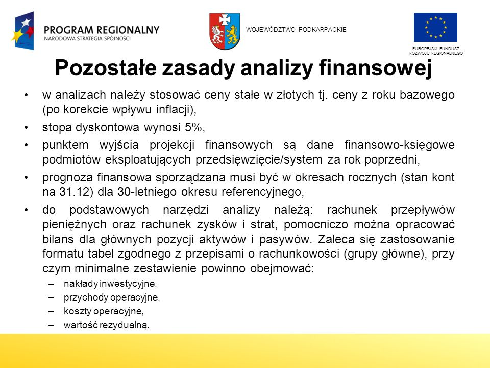 Pozostałe zasady analizy finansowej