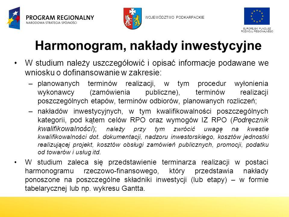 Harmonogram, nakłady inwestycyjne