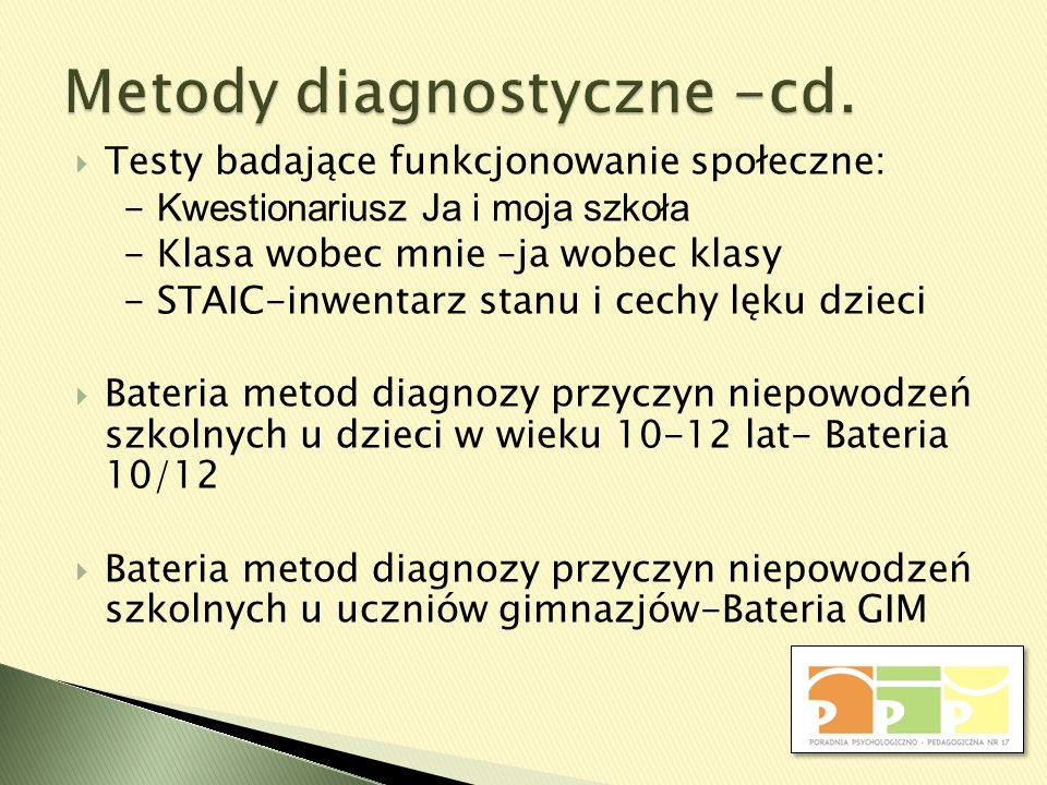 Metody diagnostyczne -cd.
