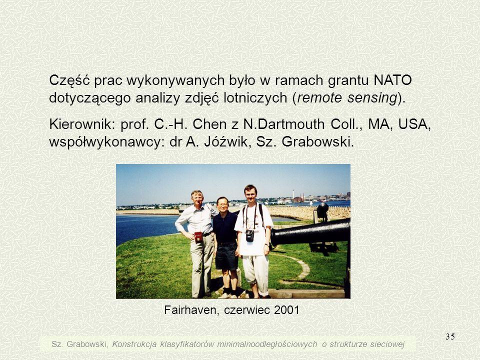 Część prac wykonywanych było w ramach grantu NATO dotyczącego analizy zdjęć lotniczych (remote sensing).