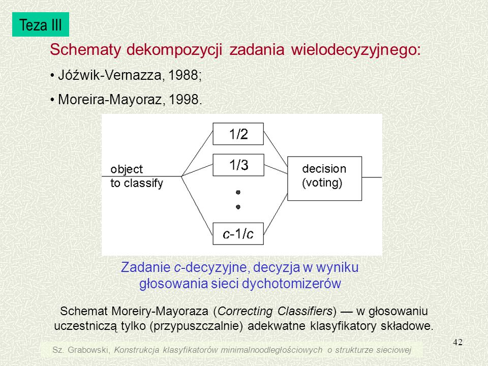 Zadanie c-decyzyjne, decyzja w wyniku głosowania sieci dychotomizerów