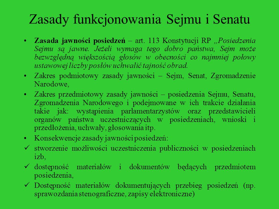 Zasady funkcjonowania Sejmu i Senatu