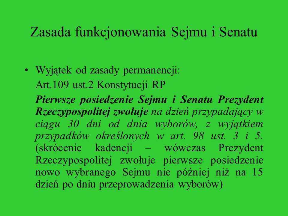 Zasada funkcjonowania Sejmu i Senatu