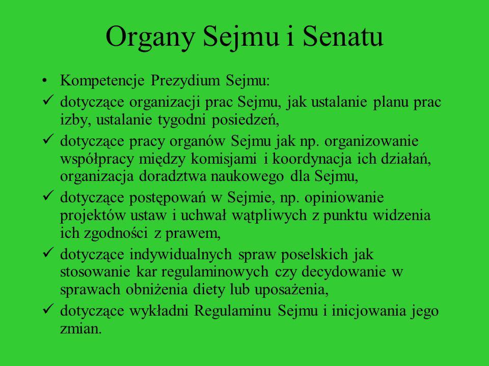 Organy Sejmu i Senatu Kompetencje Prezydium Sejmu: