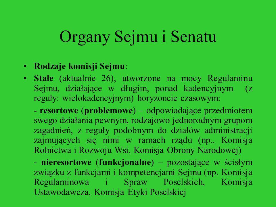 Organy Sejmu i Senatu Rodzaje komisji Sejmu: