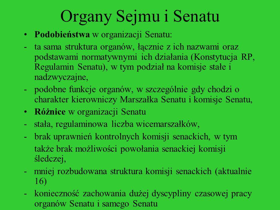 Organy Sejmu i Senatu Podobieństwa w organizacji Senatu: