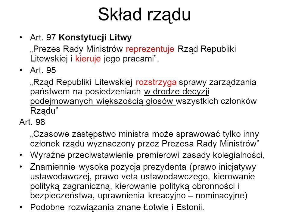 Skład rządu Art. 97 Konstytucji Litwy