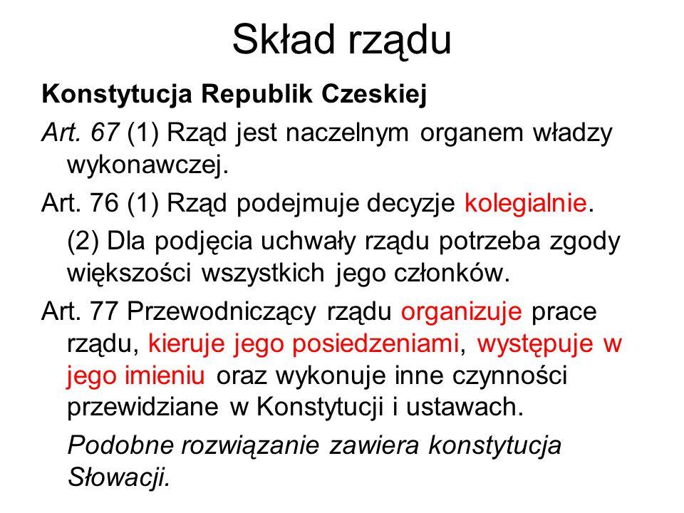 Skład rządu Konstytucja Republik Czeskiej