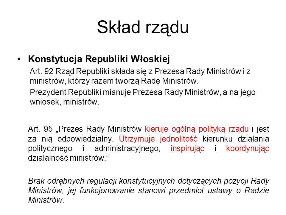 Skład rządu Konstytucja Republiki Włoskiej
